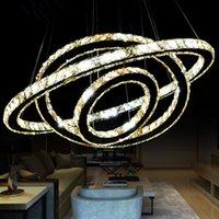 işık saçan daire kristali toptan satış-Sıcak Satış Sıcak satış Kristal Elmas Yüzük LED Kristal Avize Işık Modern Kristal Sarkıt 3 Circles farklı boyut pozisyonu