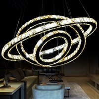 elmas yüzük led kristal avizeler toptan satış-Sıcak Satış Sıcak satış Kristal Elmas Yüzük LED Kristal Avize Işık Modern Kristal Sarkıt 3 Circles farklı boyut pozisyonu
