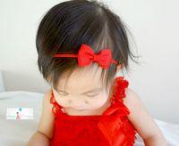 Wholesale Headband Small Girls - Baby Headbands Small Bow Girls Grosgrain Ribbon Hairbands Kids Elastic Bowknot Headwear Children Hair Accessories KHA300