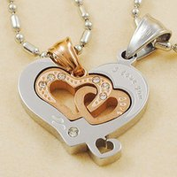 """Wholesale Wholesale Jewellery Korea - Wholesale-""""I Love You"""" Hearts Jigsaw Puzzle Couple Necklace Stainless Steel Pendant For Men Women Jewellery Party Gift Korea Jewelry 2016"""