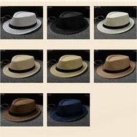 Wholesale Cheap Stingy Brim Hats - Cheap Vogue Men Women Hat Kids Children Straw Hats Cap Soft Fedora Panama Belt Hats Outdoor Stingy Brim Caps Spring Summer Beach LC613