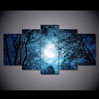 Wholesale tree life canvas print for sale - Group buy 5 Set HD Printed Cloudy Sky with Tree Silhouettes at Night Painting Canvas Print room decor print poster picture canvas