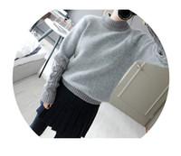 Wholesale Slit Bottom - Wholesale- 2014 new winter angora sweater korean women slit high collar sweater wilde bottoming knit sweater wild female
