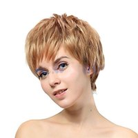 """Wholesale Light Brown Lolita Wig - 6"""" Cheap Females Flaxen Short Straight Wigs American Synthetic Hair Blonde Wig Synthetic Fake Hair Cosplay Party Lolita Wig"""