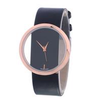 Wholesale Transparent Glass Wrist Watch - fashion 2017 simple hollow transparent unisex mens women leather watch wholesale ladies students dress quartz wrist watches