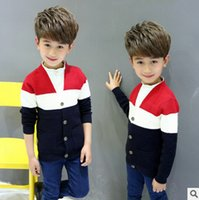 Wholesale Sweater Boys Stripes - Children sweater cardigan big boys stripe fake two piece outwear kids cotton knitting shirt 2017 new boys autumn leisure coat T3999