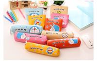 Wholesale Doraemon Pen Pencil - Japan Doraemon pencil case school boys kawaii pen box bag pouch canvas cartoon cute cases bags leather pens stationery