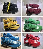 """Wholesale Family Specials - Pharrell """"Friends and Family"""" NMD HUMAN RACE,Hu nmds Williams Runner Shoes Being Special Burgundy Maroon Yellow Black Red Green With Box5-11"""