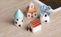 ingrosso cottage in miniatura-Garden Miniature Decor Resina artificiale Decorazione della casa Piccolo DIY House Cottage Castle Fairy Garden Moss Terrarium per gli gnomi