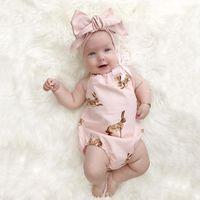 Wholesale Binding Set - Baby romper sets INS Baby Girls bunny pink bind bow Romper + big BOW headdress 2pcs sets 2017 spring toddler kids cotton jumpsuit T0876