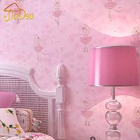 Wholesale Cute Light Wallpaper - Wholesale-Modern Cute Cartoon Ballet Girl Wallpaper Rolls For Children Bedroom Living Room Background Wall Coverings Papel De Parede 3D