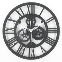 старинные большие часы оптовых-Оптовая торговля-большие старинные настенные часы 3D акриловые передач настенные часы старинные ретро стиль Гостиная большие часы Часы Horloge Murale