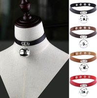 Wholesale Slaves Collar Steel - Retro Bell Pendant PU Leather Choker Necklace Collar Torques Sub Slave Necklace For Women Punk Statement Jewelry