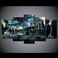 Wholesale Canvas Wall Art Ny - 5 Piece Canvas Art Harry Potter Deathly Hallows Movie Poster HD Printed Wall Art Home Decor Canvas Painting Picture NY-6572A