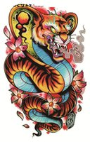 Wholesale Tattoo Stickers Snakes - Wholesale- Tiger Snake Tattoo Cool Beauty Sexy Tattoo Waterproof Temporary Tattoo Stickers