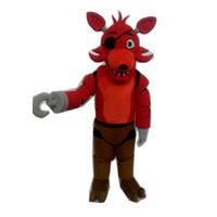 fantasias de raposa vermelha venda por atacado-Cinco Noites no Freddy FNAF Creepy Toy vermelho Foxy mascote Traje Terno de Halloween Natal Vestido De Aniversário Adulto Tamanho raposa azul