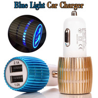Wholesale Light Car For Cigarettes - Led Car Charger 2 Ports Cigarette Port 2.1A Metal Micro Auto Power Blue Light Adapter Dual USB Charger For iPhone Samsung S8