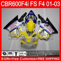 ingrosso giunzioni gialle f4i-8Gifts 23Colors per HONDA CBR 600 F4i 01-03 CBR600FS FS 28HM14 giallo bianco CBR600 F4i 2001 2002 2003 CBR 600F4i CBR600F4i 01 02 03 Carenatura