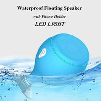 Wholesale floating wireless speaker - Mini Whale Tail Floating IPX6 Waterproof Shower Portable Bluetooth Hifi colorful Speaker with Sucker Phone Holder Stands led Light subwoofer
