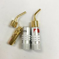 Wholesale Locking Banana Plug - 20Pcs Lot Freeshipping High Quality New 24K Gold Nakamichi Speaker Pin 2mm Banana Plugs Speaker wire Screw Lock Connector