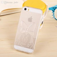 Wholesale Cartoon Phone Skin Protector - Wholesale-Hot Phone Cases! Top TPU Soft Cartoon Mickey Minnie Model Transparent Case Silicone Cover Skin Protector For iPhone 5 5s' L10
