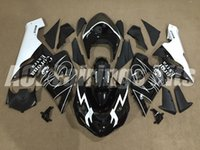 Wholesale Kawasaki 636 Fairings Set - HOT SALE! Black white corona Bodywork set fairing kit for Kawasaki ZX6R fairings 2005 2006 Ninja 636 ZX-6R 05 06 Plastic parts