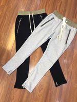 Wholesale Korea Grey Pants - newest Korea hip hop unisex black grey justin bieber FOG FEAR OF GOD zipper harem pants summer zippers pants jogger S-XXL