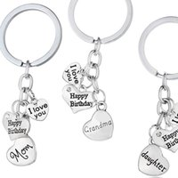Wholesale Sons Rings - maxi statement fashion jewelry i love you dad mom grandma son daughter letter family member keyring happy birthday key ring 170719