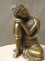 Wholesale old copper statue resale online - Chinese Fengshui Handmade Old Brass Copper Statue Sleeping Sakyamuni Buddha