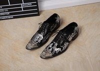 Wholesale Fashion Tips Dress - Fashion Italian Style Men Genuine Leather Oxfords Shoes Lace Up Casual Flat Business Dress Shoes Metal Tips Plus Size 46 Men Printed Shoes