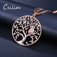 Discount white gold owl necklace New Small Owl Pendant Necklace Tree Of Life Women Rose Gold Silver Color Chain Hollow Long Necklaces Pendants Jewelry Fashion Gifts