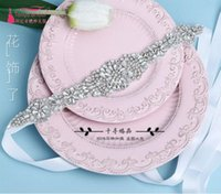 Wholesale Thin Crystals Waist Belt - 2017 Bride Wedding Dress Belt Ultra-shiny Glass Crystal Decoration was Thin Waist Cover Korean Dress Accessories