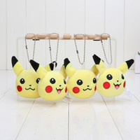 Wholesale Soft Toys Keychain - Anime Cartoon Poke Center Pikachu Soft Plush Toy Keychain Pendants Stuffed Plush Toy With Ring 8cm