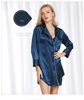 Wholesale Long Satin Nightdresses - Satin nightgown sexy lingerie Women sleepwear female silk nightgowns sleepshirts nightdress long sleeve deep v neck solid color SJYT61