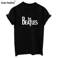 Wholesale Beatles T Shirts Women - Wholesale- THE BEATLES Letters Print White Black Women Tshirt Cotton Casual Shirt For Top Tees T Shirts