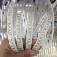 Wholesale Wire Home Decor Wholesale - Newest 110V 220V LED Strips Tape Light SMD 5730 120led m Xmas Home Hotel Decor High-end Strip Light Waterproof 100m Roll
