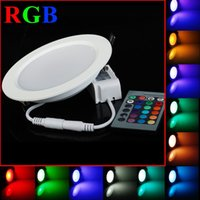 Wholesale Cheapest 1w Led - Wholesale- Cheapest 5pcs lot RGB 5W 10W LED Ceiling Panel Light AC85-265V 24Color Downlight with Remote Control------Limited Time Offer