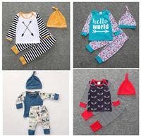 Wholesale 12 Arrows - 2017 Boys Girls Baby Clothing Sets Long Sleeve tshirts Pants Hat 3Pcs Set Cotton Toddler Arrow Floral Print Boutique Clothes Outfits FZ150