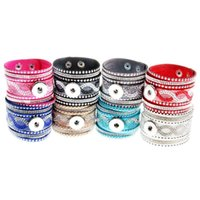 Wholesale Wide Bracelet Bands - noosa chunk genuine leather bracelet women rhinestone snap button bracelets wide band bangles new arrival