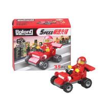 Wholesale Car Racing Girls - Bolong Hot New Funny Toys Plastic Racing Car Toys Educational Toys Block Puzzle Children Boy Girls Plastic Building Block