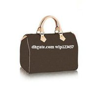 Wholesale Design Totes Leather - 2017 Classic Speedy 30 35 medium Damier Azur With Strap Women pu leather handbag Brown plaid bag brand designs totes bags with lock