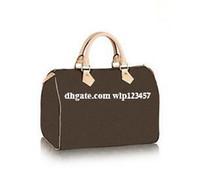 Wholesale Handbags Leather Strap - 2017 Classic Speedy 30 35 medium Damier Azur With Strap Women pu leather handbag Brown plaid bag brand designs totes bags with lock