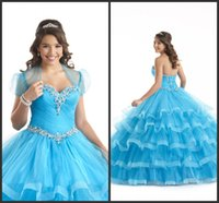 Wholesale Cheap Light Ups - 2017 Light Sky Blue Ball Gown Prom Dresses Elegant Lace Up Back Crystals Beading Tiered Skirt Organza Quinceanera Dress Cheap Price Jacket