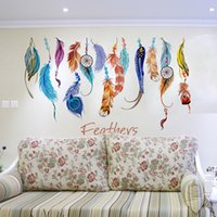 Wholesale Colorful Nature - PVC Wall Sticker Colorful Feather Plane Wallpaper DIY Fantastic Removable Paster For Living Room Background Decor 3 6fj B