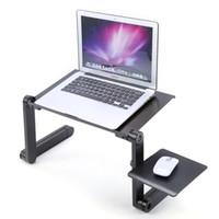 mesa de escritório dobrável venda por atacado-Freeshipping 360 Graus Dobrável Ajustável Laptop Mesa de Computador Mesa Suporte Mesa Cama Bandeja