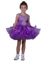 vestidos de niña de flores de volantes hermosa al por mayor-Nuevo Purple Little Pageant Vestidos de cupcake Correas para niños pequeños Mini vestido corto para niños Magníficos volantes Tutu Flower Girls Vestidos hermosos