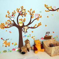 Wholesale owl stickers for nursery - Wall Sticker Jungle Theme Cartoon Forest Animal Owl Monkey Tree Decal Kid Room Eco Friendly Decoration Stickers Hot Sell 6ct F R