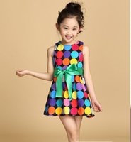 Wholesale Toddlers Rainbow Dress - 2016 summer girls cloth toddler girls vest dress 3-10 years old kids rainbow dot cloth Bow Princess Dress