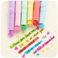 Wholesale School Stamps - Wholesale- 6 pcs Lot Nice highlighter Color stamp Marker pens DIY scrapbooking tools zakka Stationery canetas escolar School supplies F285