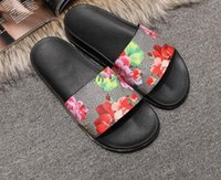 Wholesale nude flat sandals - European Brand mens and women fashion print leather slide sandals summer outdoor beach Shoes causal slippers